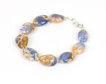 Chalcedony Bracelet, Raw Chalcedony Statement Bracelet, Gemstone necklace, Handmade Jewelry, Gemstone Jewelry, unique-gift-for-wife, energy