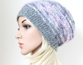 Alpaca Hat Grey Wool Beanie Womens Winter Hat Soft Pink Slouchy Hat in Gray and Lavender Fuzzy Mohair Oversized Crochet Beanie