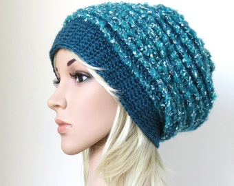 Blue Slouchy Hat, Teal Beanie, Women's Turquoise Hat, Ladies Winter Hat, Chunky Baggy Crochet Slouchy Beanie