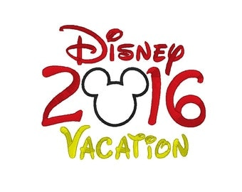 "Mickey Mouse ""2016"" Disney Vacation Trip with Applique Head Embroidery Digital Design Pattern - INSTANT DOWNLOAD ~  5x7 and 6x10 Sizes"