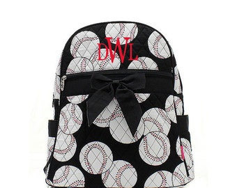 Personalized Baseball Sports Balls Print Quilted Backpack with Bow * Custom Embroidered Book Bag with Monogram or Name * Gift