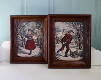 Vintage Holiday Wall Decoration Colonial Boy & Girl Prints Kay Dee Linen