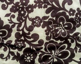 "Fashion Floral Cotton Fabric- 2.3 yds/ 2ms -Brown Yellow Flower Cotton Sateen DIY Fashion Home Sewing Textile 51""W x83""L / 130cm x 210cm"