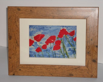 Christmas gift present home decor interior design house warming anniversary floral art collectibles painting of Poppies in wood frame
