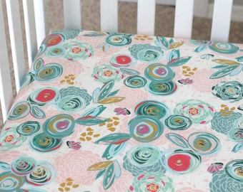 Floral - Fitted Crib Sheet - mint, coral, pink, navy, and teal