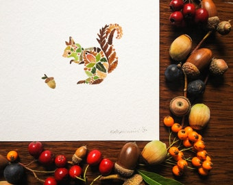 """Miniature Squirrel print made from pressed Fern leaves - 5"""" x 5"""" Square Fine Art Giclée Print - Hand Finished with a pressed leaf Acorn"""