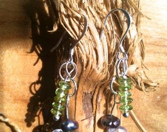 Peridot, Rose Quartz, Freshwater Pearl and Sterling Silver gemstone art earrings