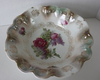 STUNNING VINTAGE Bowl with Peonies and Liliacs