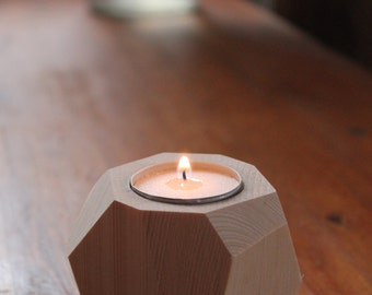 Candle holder wooden mirror