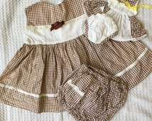 Reserved // 1960s Vintage toddler girls dress and bloomers set with matching dress and bloomers for her doll! Brown and white gingham approx