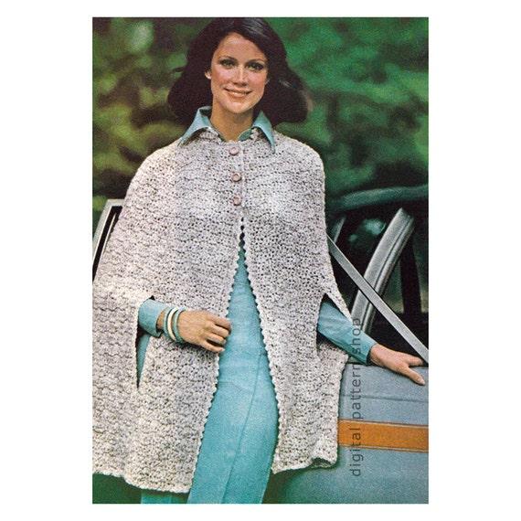 crochet cape pattern womens vintage short tweed cape crochet. Black Bedroom Furniture Sets. Home Design Ideas