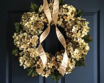 New Home Housewarming Gift Ideas | Beautiful Blended Hydrangea Wreath | Front Door Wreaths | Green and Cream Hydrangeas | Spring Wreaths