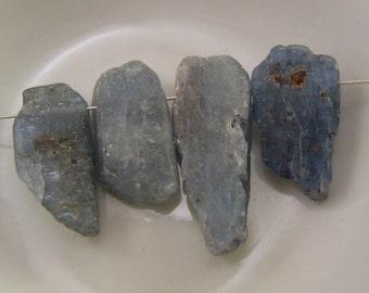 Blue Hued Kyanite Rough Natural Stick Bead - #5581 - 4 Beads