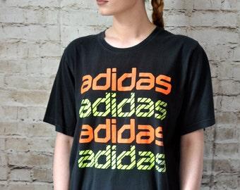 90s Vintage Retro Adidas T-Shirt, Sportswear Top, Casual Top, Streetwear.