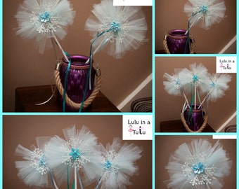 Blue and White Snowflake Tulle Fairy Wands - Various Styles available