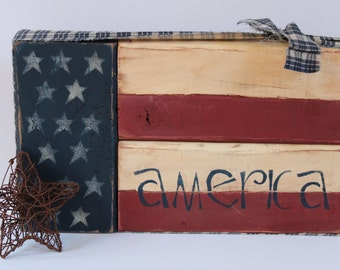 American Flag Wood Block Set, Patriotic Shelf Sitter, Stacking Blocks, USA