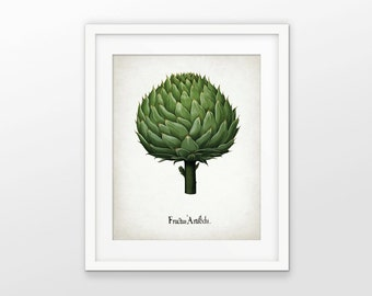 Artichoke Art Print - Artichoke Vegetable Plant Illustration - Botanical Print - Kitchen Art - Single Print #1558 - INSTANT DOWNLOAD