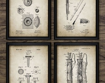 Vintage Golf Patent Print - Golf Blueprint Wall Art - Golf Gift Home Decor - Mancave Wall Art - Golf Set Of 4 Prints #413 - INSTANT DOWNLOAD
