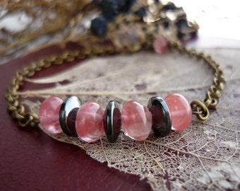 Stone bracelet Beaded bracelet Quartz bracelet Hematite bracelet Stone jewelry Women bracelet Hematite jewelry Boho bracelet Beaded jewelry