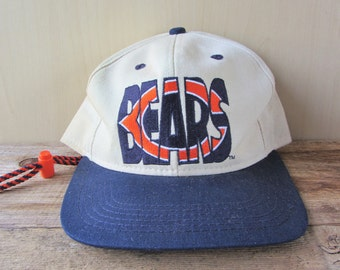 Chicago BEARS Vintage 90s Drawstring Hat Two Toned Football Sports Cap by #1 Apparel Embroidered Adjustable Ballcap Made in USA