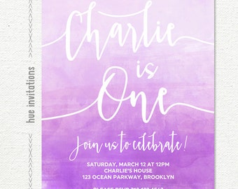 girls 1st birthday invitation, purple violet lavender watercolor birthday invitation, ombre watercolor customized digital printable invite