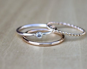 Stackable Ring Set | Sterling Silver Stack Ring | Thin 14k Gold Filled Ring | Stackable Rings [Eva Ring Set]