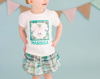 Girl's Easter Shirt with Bunny Box and Embroidered Name - M25