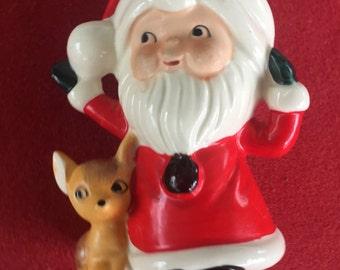 Vintage ceramic Santa Claus and deer figurine