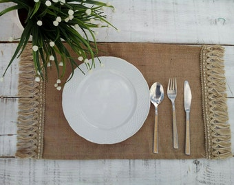 Burlap Placemats - Burlap Tablemats - Plate Charger - Lined Table Settings - Wedding Placemats - Rustic Table Decor - Set of 6