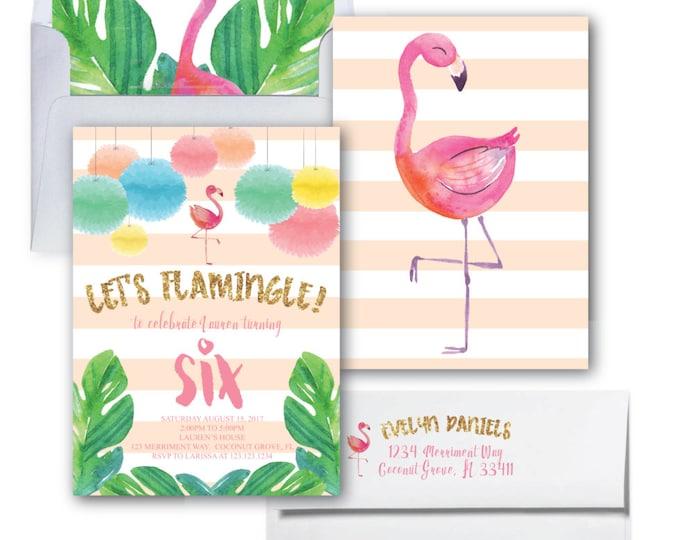Let's Flamingle Invitation// Flamingo Invitation //Gold Glitter // Birthday // Watercolor // Bridal Shower // COCONUT GROVE COLLECTION