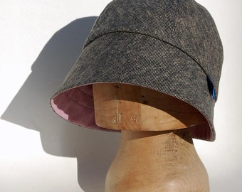 Womens tweed hat| winter designer hat| ZUTbrigitte grey and pink rain hat