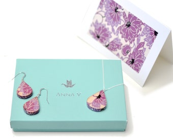 """1st Anniversary Gift / Paper Jewelry """"Lotus"""" Set / First Year Anniversary for Her / Paper Earrings, Necklace + 100% HAPPINESS GUARANTEE!"""
