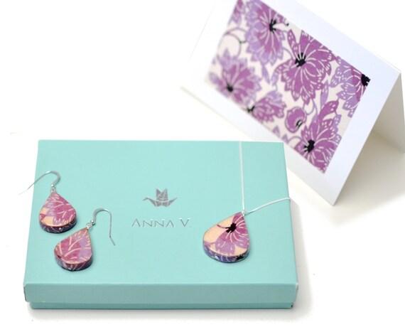 St anniversary gift paper jewelry lotus set