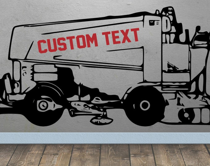 Ice Resurfacing Hockey Wall art Vinyl Decal Custom text / first name personalized - 2 colors sticker decor kids bedroom sports