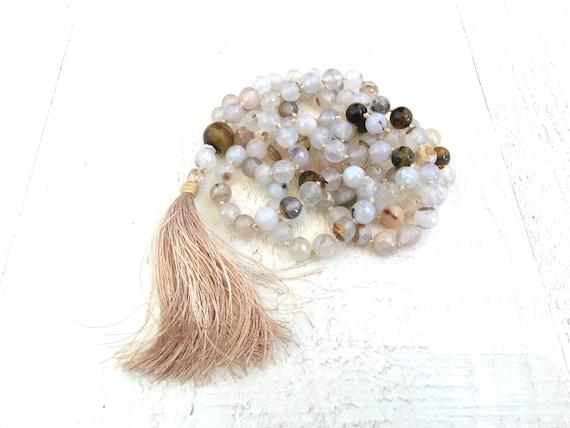 White Agate Knotted Mala Beads, 108 Bead Knotted Mala, Tiger Eye Mala, Healing Mala Necklace, Yoga Meditation Beads, 108 mala Bead