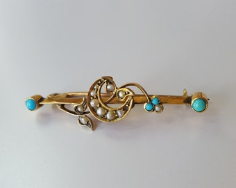 Antique 9ct Victorian Turquoise and Seed Pearl bar Brooch Estate 9k gold