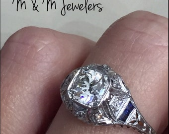 Platinum Ladies Vintage European Cut Diamond and Sapphire Engagement Ring