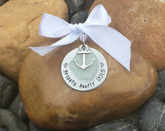 Beach Ornament | Sea Glass Ornament | Beach Christmas Ornament | Sea Glass Christmas Ornament | Nautical Family Christmas Ornament