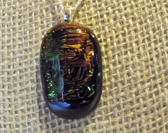 Dichroic Fused Glass Pendant Necklace