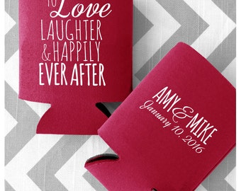 To Love Laughter & Happily Ever After Wedding Can Coolers - Customized/Persoanlized Wedding Coolies Free Shipping (25)