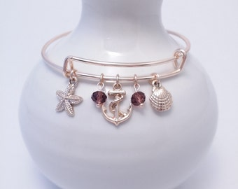 Nautical theme rose gold bangle bracelet
