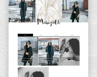 Responsive Premade Blogger template + Homepage - Free Installation - Minimalist Watercolor Marigold