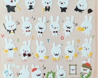 Mr Rabbit Stickers, rabbit sticker,animal sticker,craft supply,scrapbook supply,diary sticker,colorful sticker