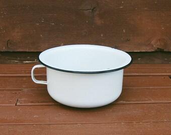 Enamel Chamber Pot, Enamelware Chamber Pot, Vintage Black & White Chamber Pot Planter