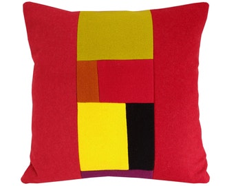 Red  wool Cushion cover, colourful cushion,red pillow 40 x 40cm
