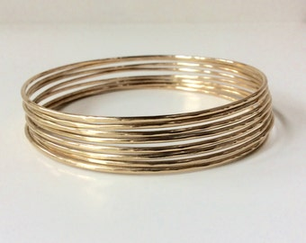 SOLID Gold Bangle - One (1) 14K Solid Gold 1.3mm Thick - Hammered or Smooth - Full Round 16 Gauge Wire - Marked 14K
