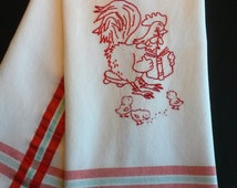 Redwork tea towel, hand embroidered tea towel, chicken embroidery, embroidered dishtowel,embroidered chickens, red kitchen decor,in the farm
