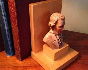 "One vintage Toriart ""Chopin"" hand carved bookend made in Italy"