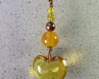 Suncatcher Garden Art with Solid Glass Gold Heart