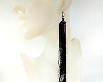 Extra Long Black Beaded Earrings - Dangle Earrings Fringe Earrings - Very Long Seed Bead Earrings-Black Earrings - Beadwork Earrings